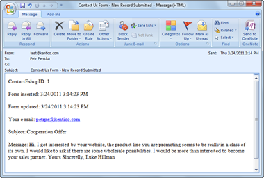 Notification email message displayed in Microsoft Outlook