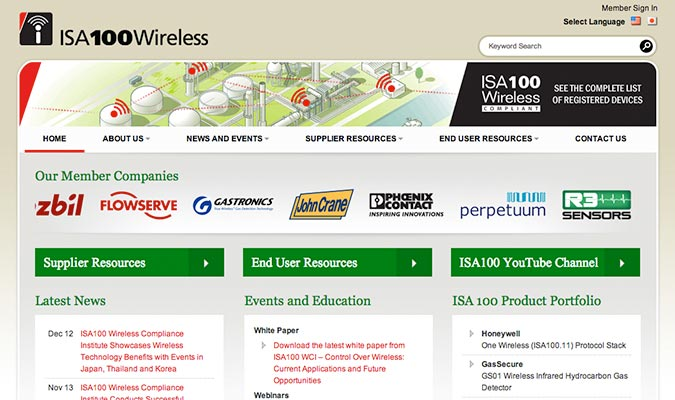 ISA 100 Wireless Website